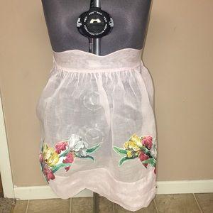 Vintage baby pink floral appliqué apron